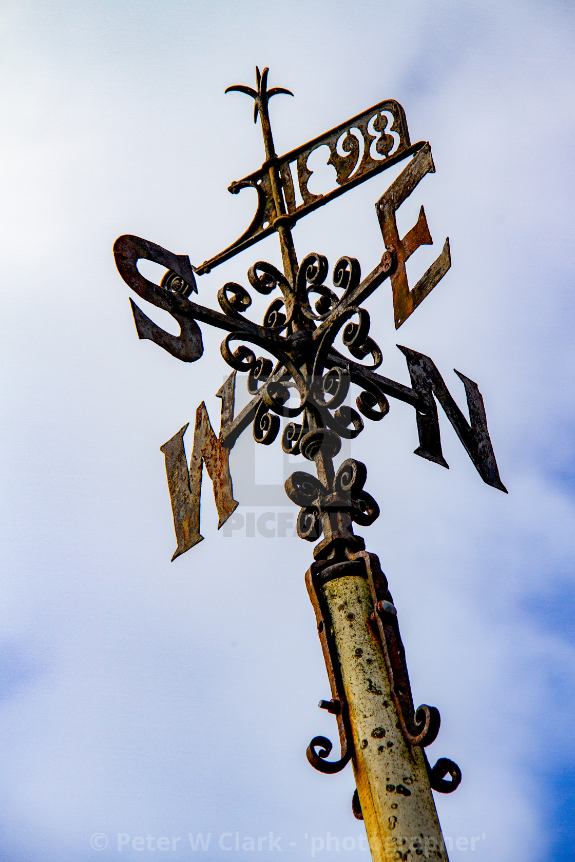 """""""Weathervane at Kettlewell, Yorkshire Dales."""" stock image"""