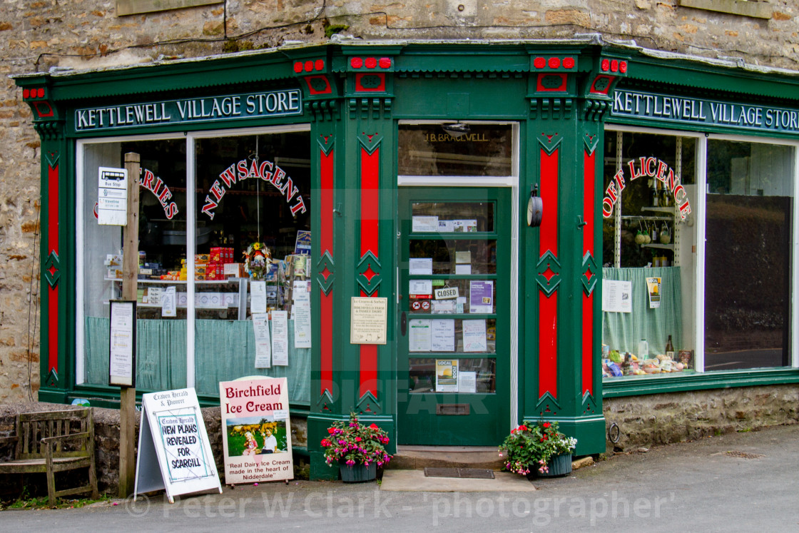"""""""Kettlewell Village Store, in Kettlewell, a village in Wharfedale, Yorkshire Dales."""" stock image"""