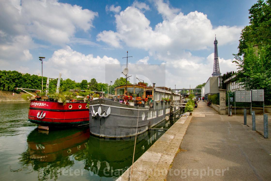 """Paris, River Seine Barge, Restaurants and Bars."" stock image"