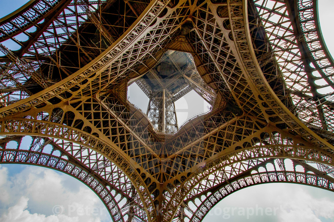 """The Eiffel Tower, Paris. Showing Lattice Construction."" stock image"