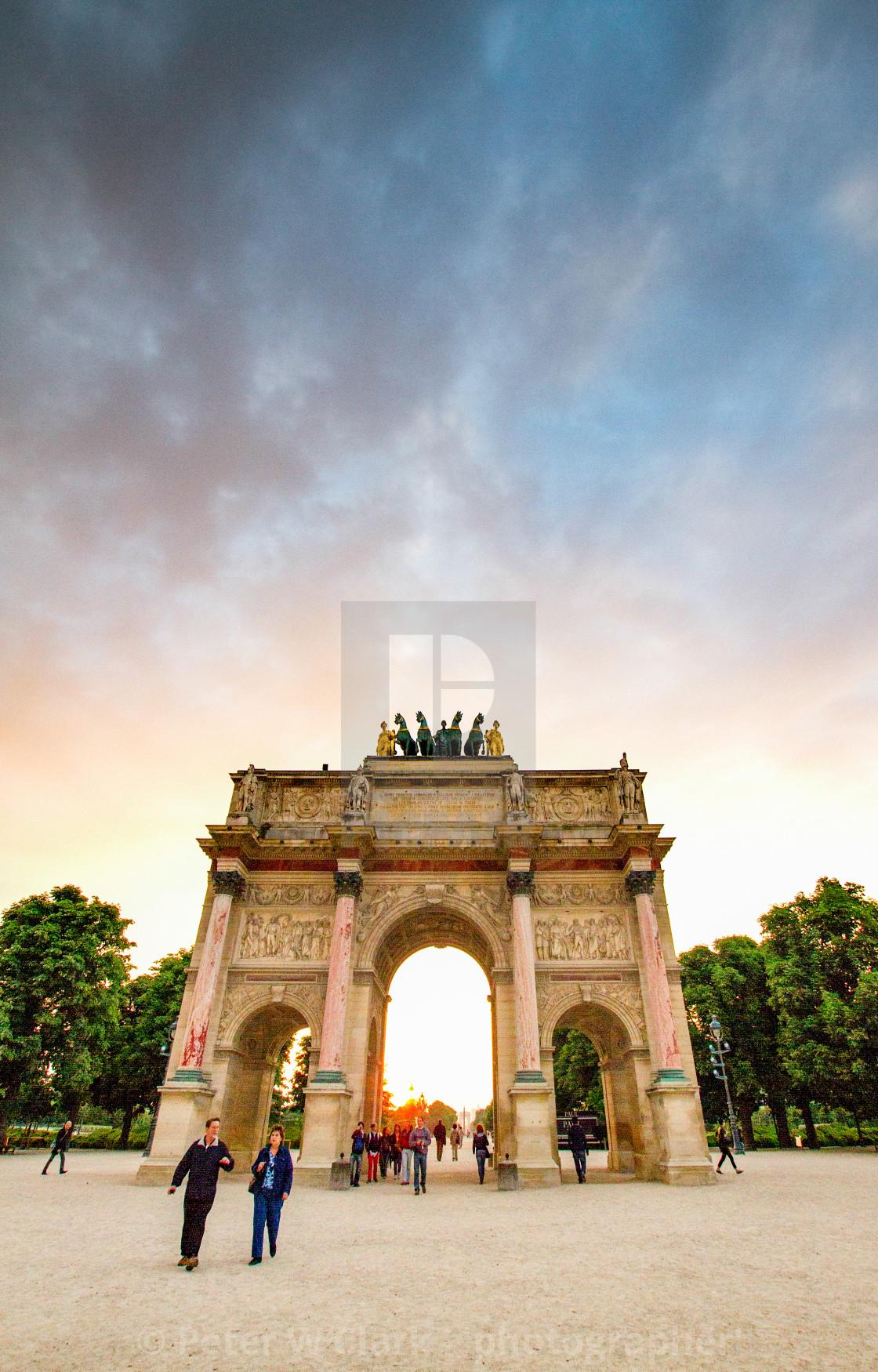"""The Arc de Triomphe du Carrousel in Paris. Tuileries Garden in the background"" stock image"