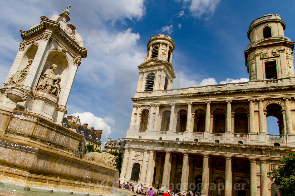 """""""Fontaine Saint-Sulpice, Paris. Church of Saint Sulpice to the Background"""" stock image"""