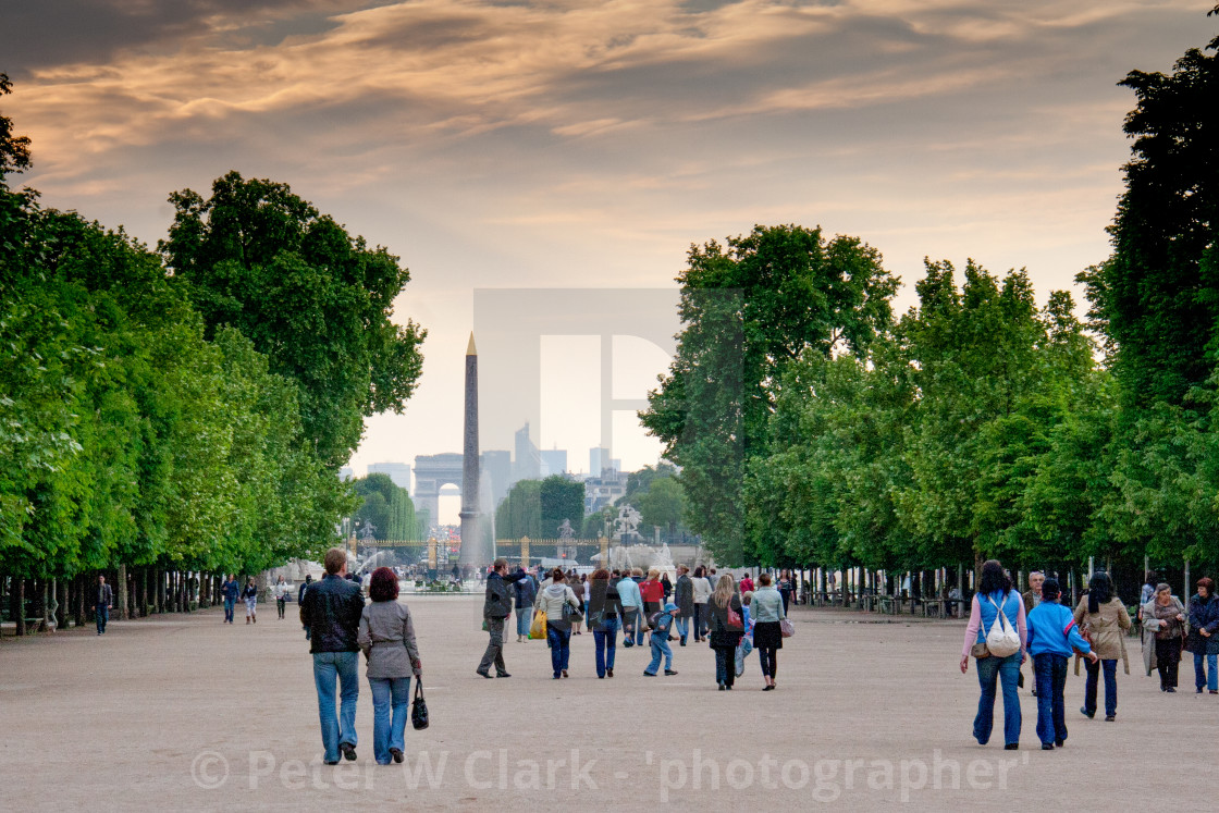 """Approach to Place de la Concorde, Luxor Obelisk in the Background, Paris"" stock image"