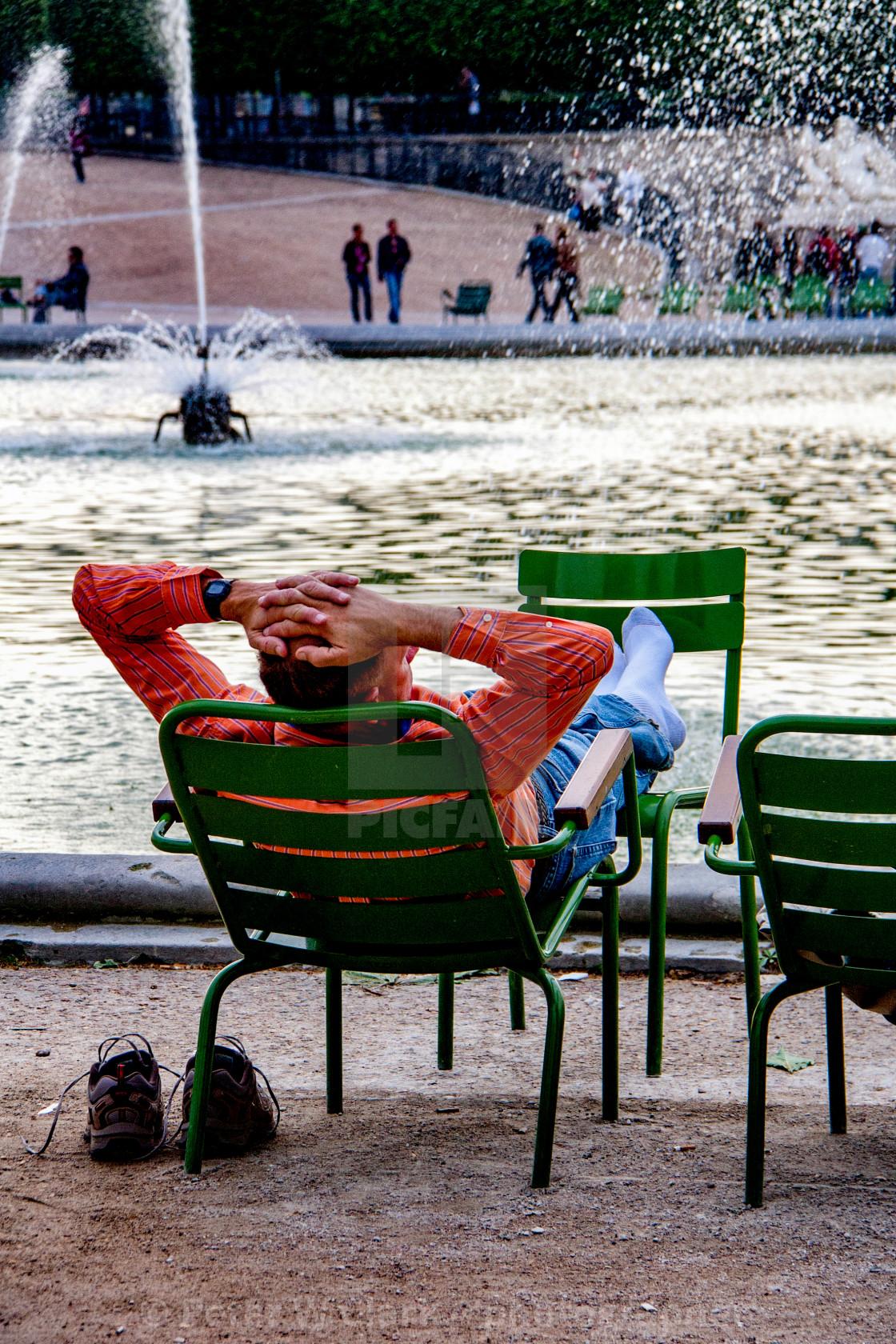 """Relaxing, Resting Feet in Paris"" stock image"