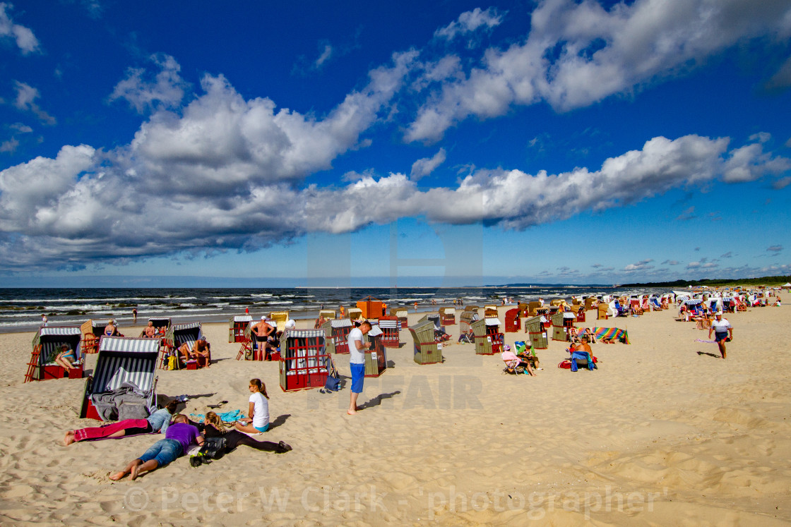 """Swinoujscie Beach, Poland, a Leisure and Sporting Attraction for Visiting Holidaymakers"" stock image"