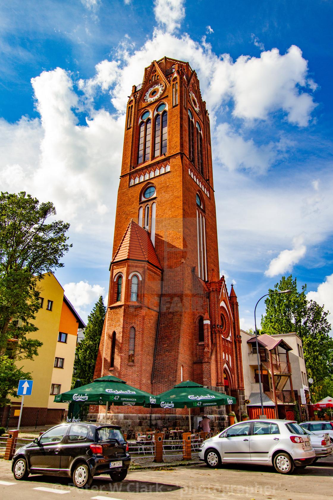 """Swinoujscie, Martin Luthers Church Tower. Now 'Cafe Wieza'"" stock image"