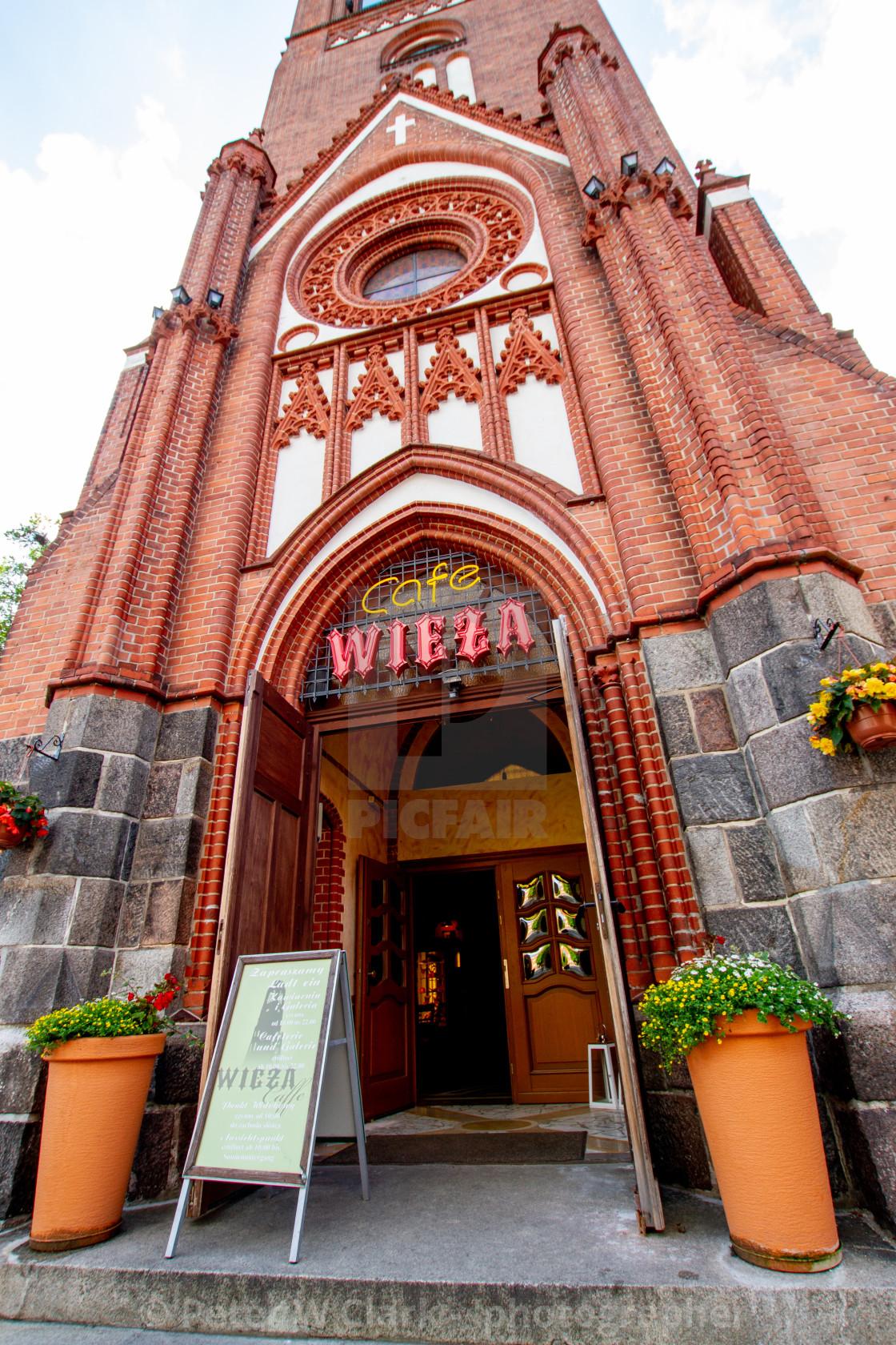 """Swinoujscie, Martin Luthers Church Tower. Cafe Wieza"" stock image"