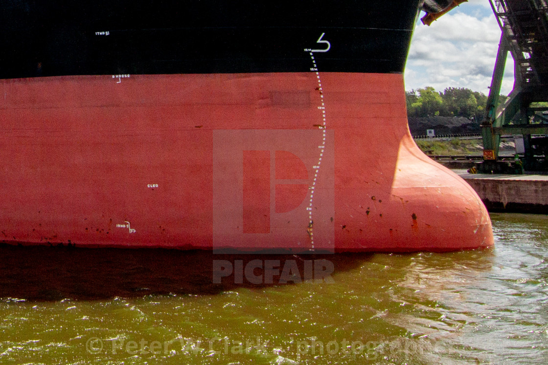 """Swinoujscie, Photographs of a Polish Seaport. Ships Bulbous Bow."" stock image"