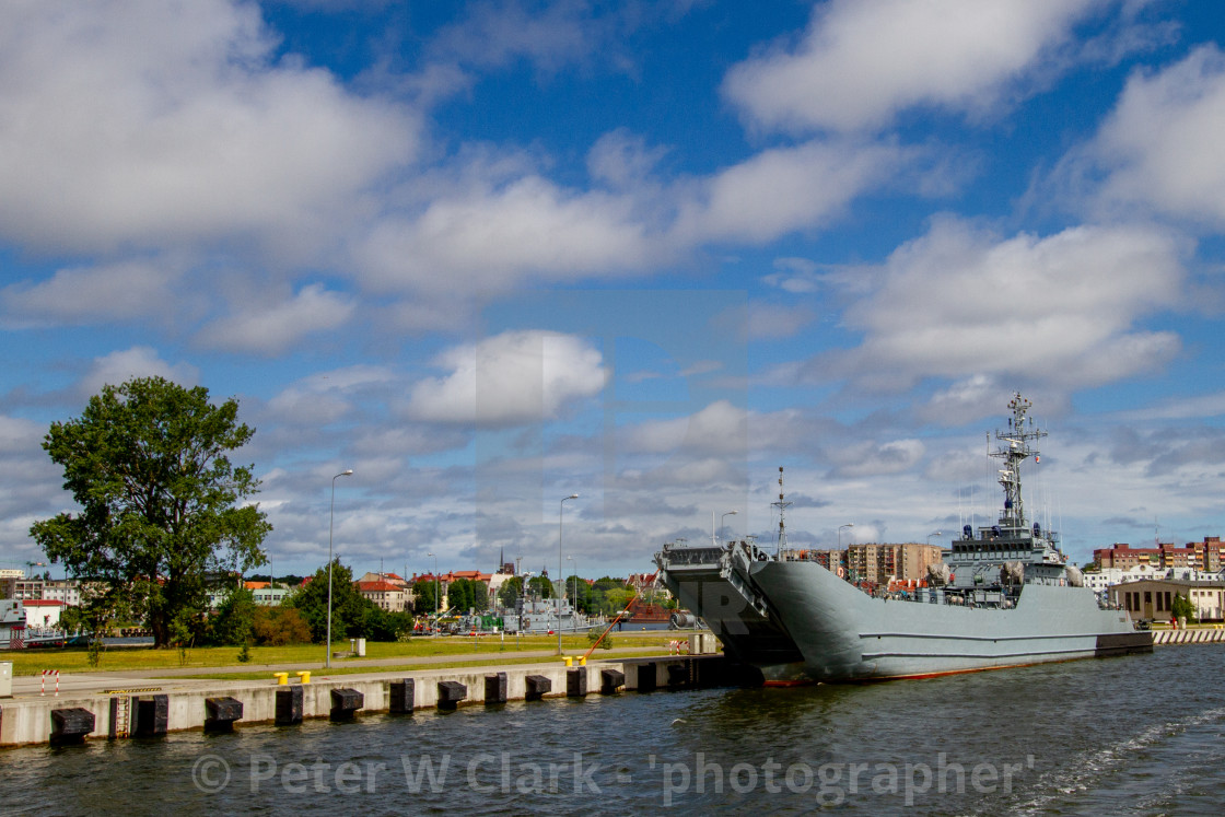 """Swinoujscie, Photographs of a Polish Seaport. Lublin-class minelayer-landing ship"" stock image"