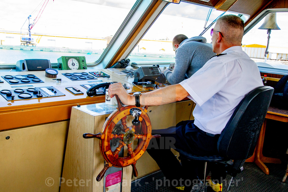 """Swinoujscie, Photographs of a Polish Seaport. MS/Chateaubriand, the Bridge."" stock image"