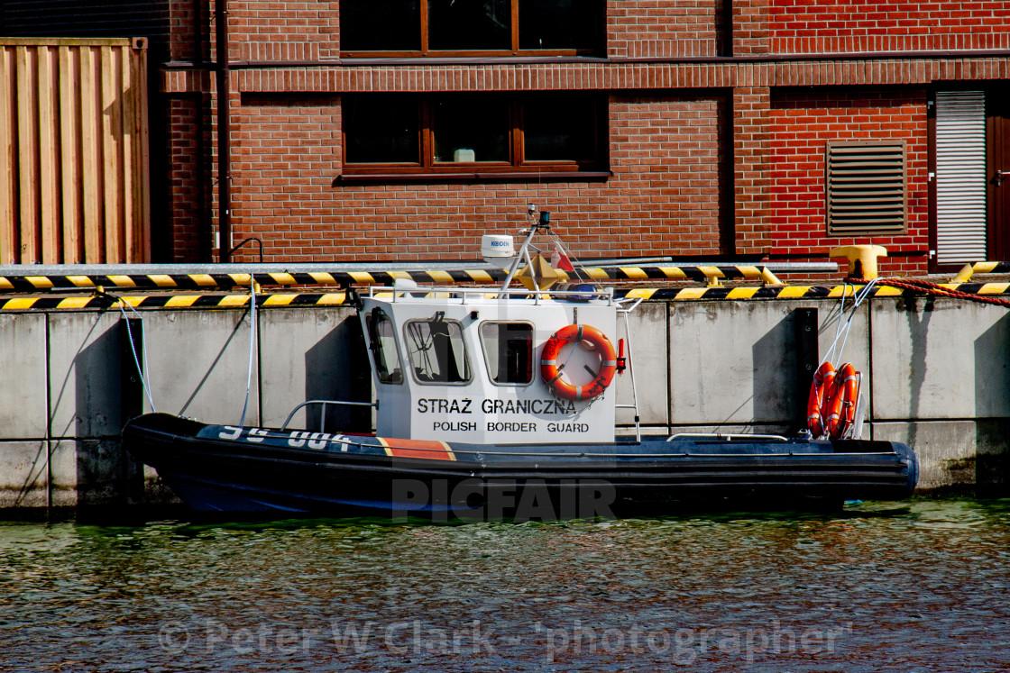 """Swinoujscie, Photographs of a Polish Seaport.. Polish Border Guard Boat"" stock image"