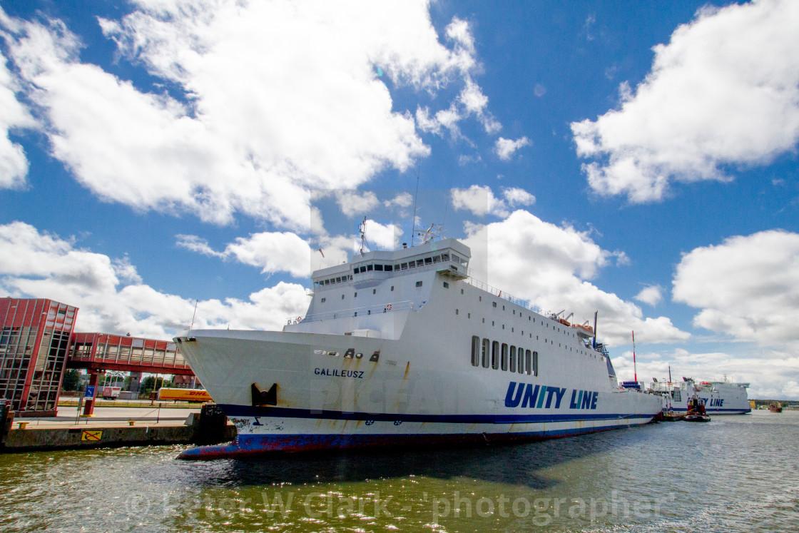 """Swinoujscie, Photographs of a Polish Seaport. Unity Line Ferry 'Galileusz'"" stock image"