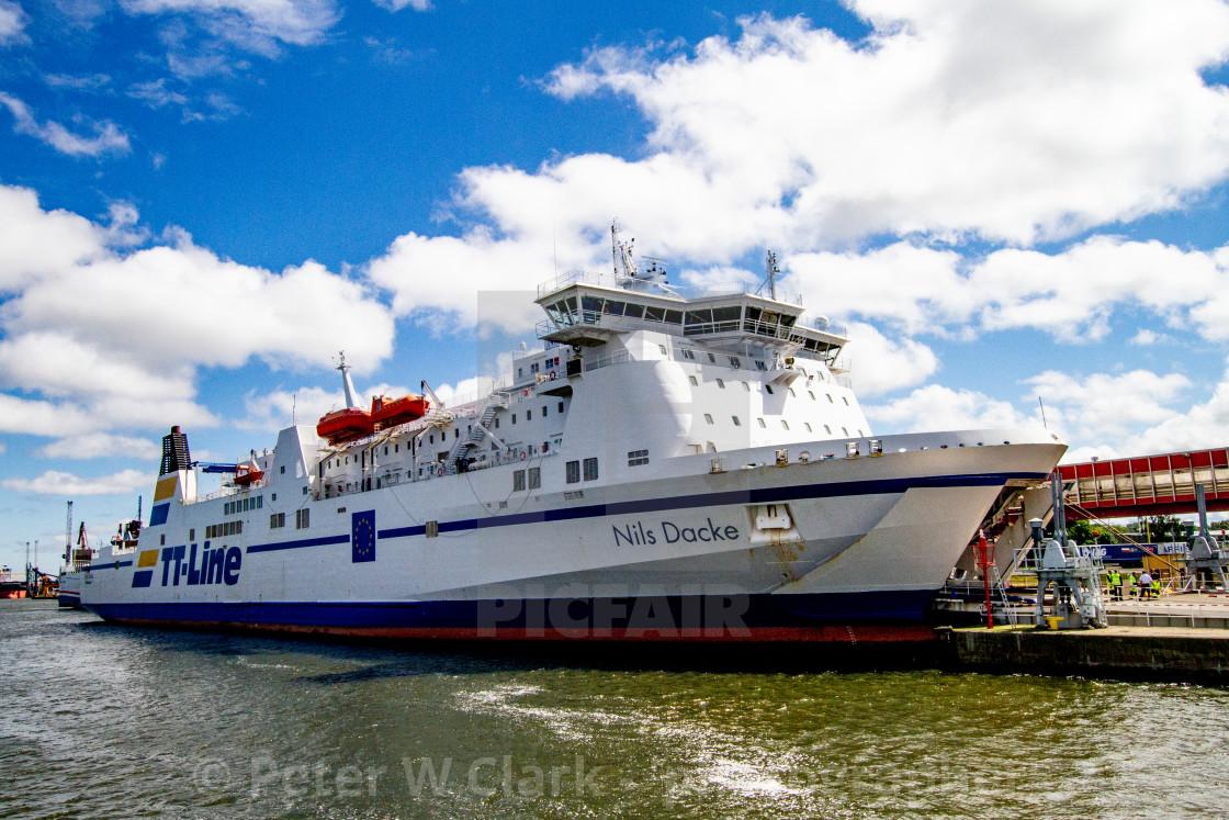 """Swinoujscie, Photographs of a Polish Seaport. TT Line Ferry 'Nils Dacke'"" stock image"