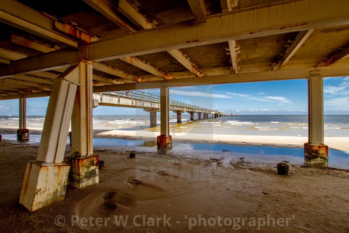 """Photographs of Ahlbeck a Seaside Resort on the Baltic Sea Coast, Germany. View from under the pier."" stock image"