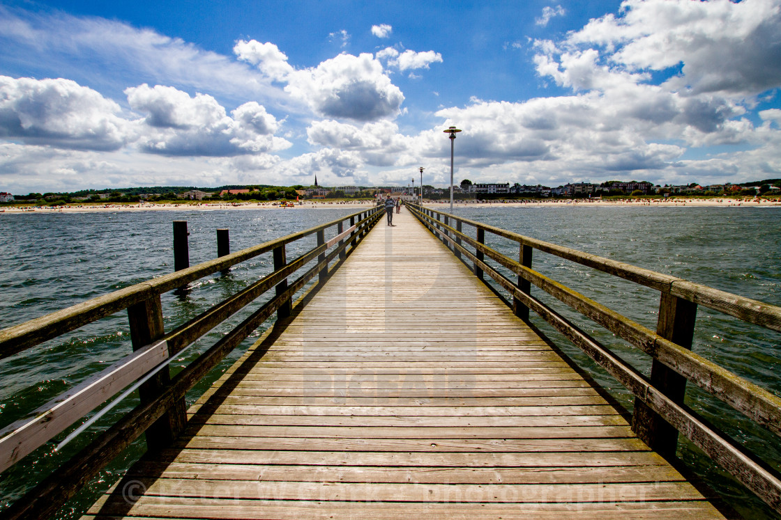 """Photographs of Ahlbeck a Seaside Resort on the Baltic Sea Coast, Germany. View inland from the wooden pier."" stock image"