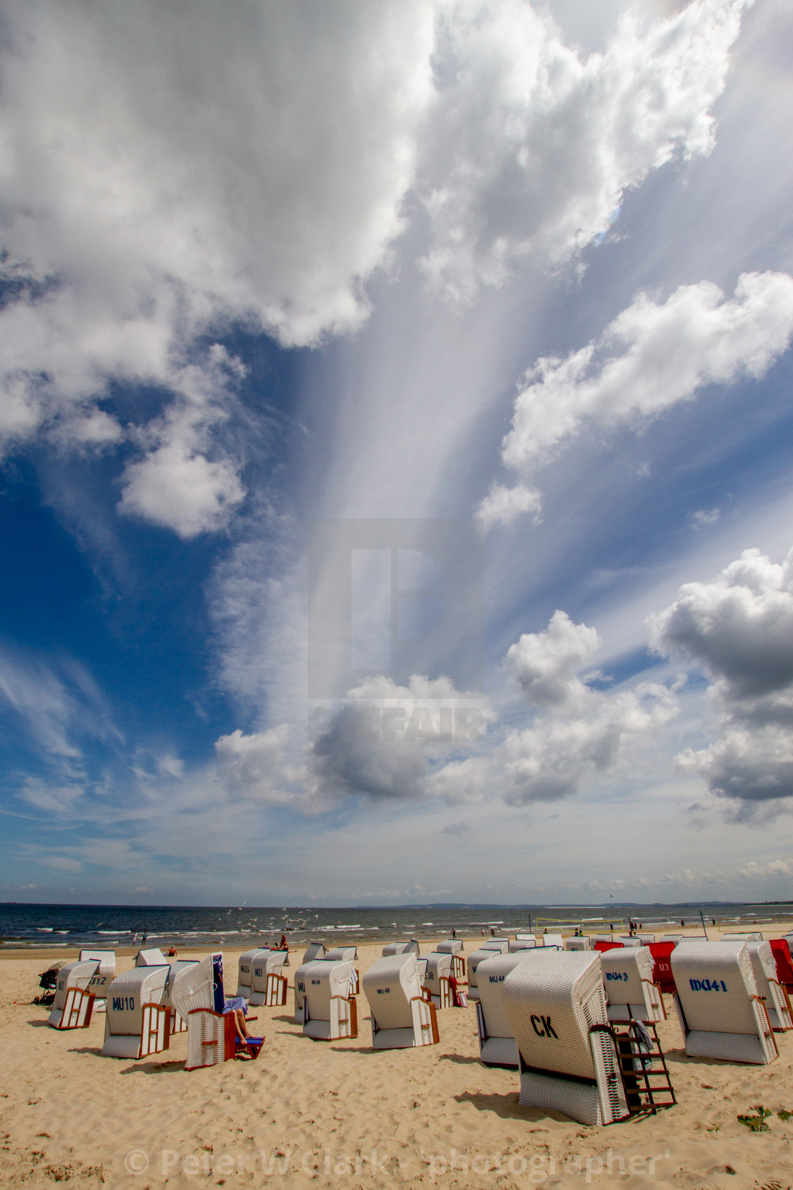 """Photographs of Ahlbeck a Seaside Resort on the Baltic Sea Coast, Germany. The Beach with Wicker Sun Shelters on a Sunny Day."" stock image"