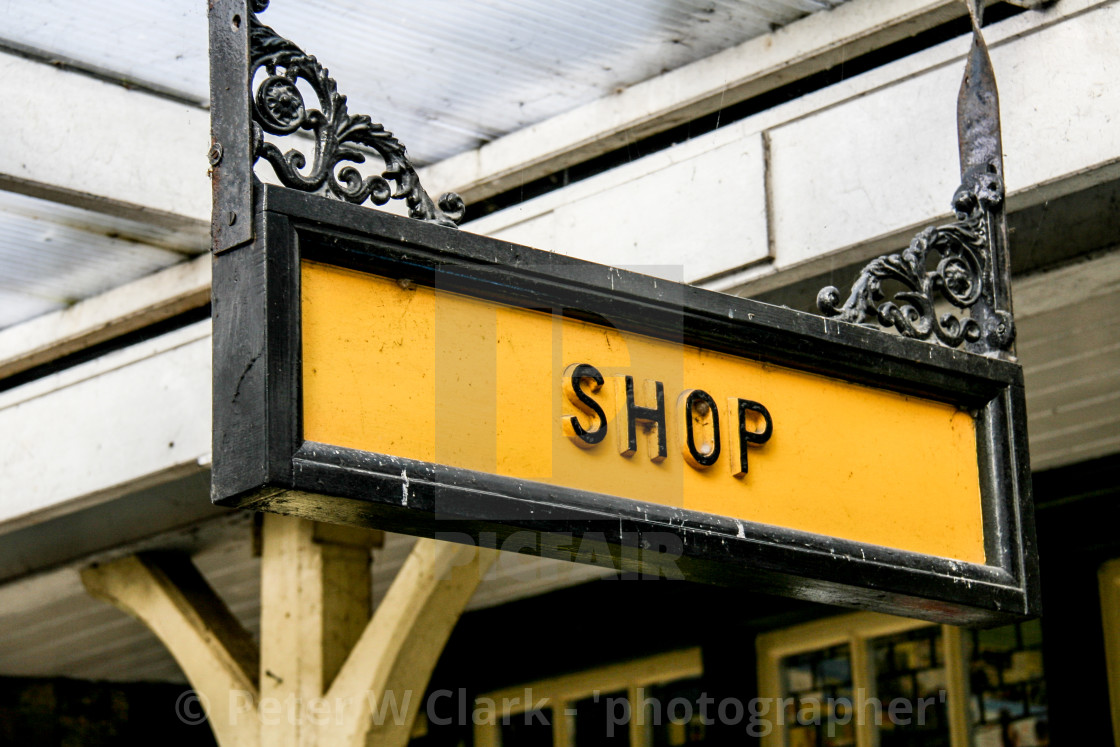 """Embsay and Bolton Abbey Steam Railway, Platform Sign, Shop."" stock image"