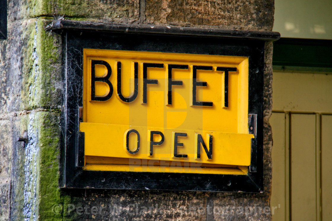 """Embsay and Bolton Abbey Steam Railway, Platform Sign, Shop. Buffet Open."" stock image"