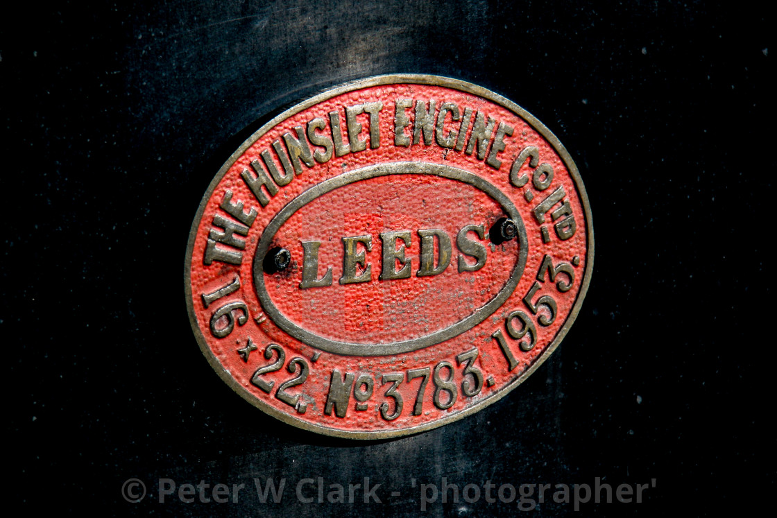 """Embsay and Bolton Abbey Steam Railway. Manufacturers Identification Plate. The Hunslet Engine Company."" stock image"