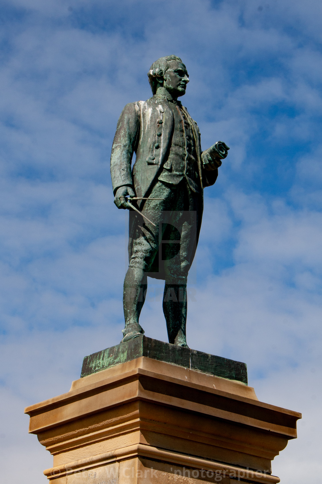 """Whitby, UK, Captain Cook Statue"" stock image"