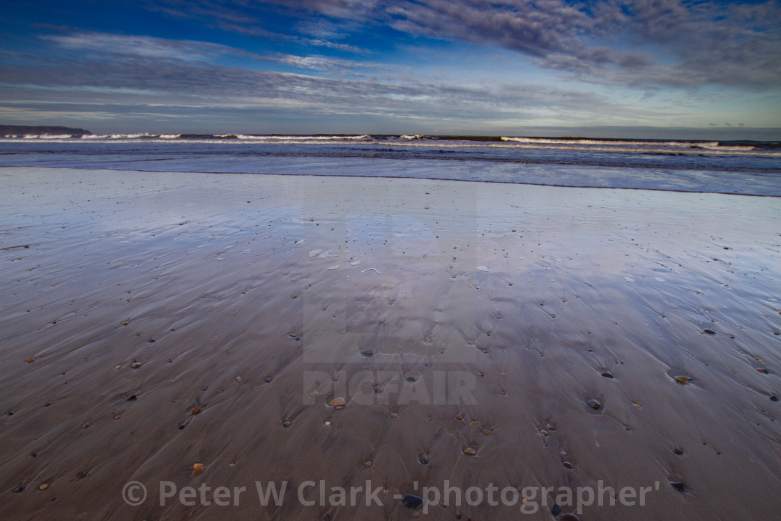 """Whitby, UK, Beach, Reflection. Blue Sky and Copy Space."" stock image"