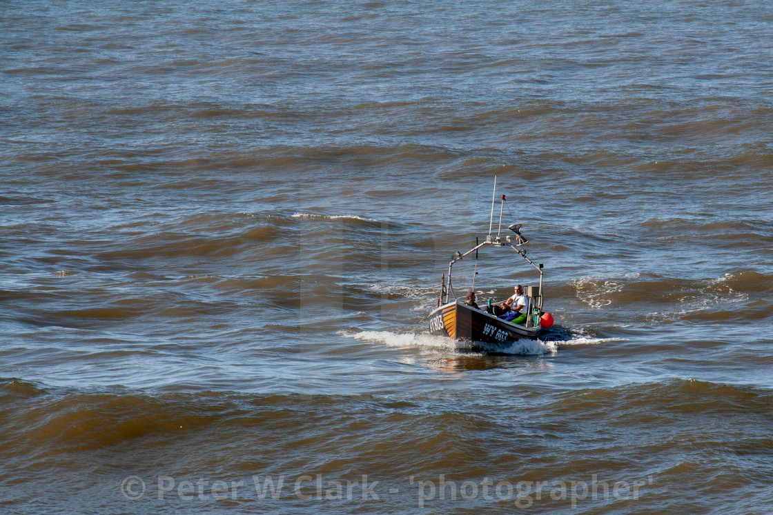 """Whitby Fishing Boat WY803 Ran Returning to Whitby Harbour. Yorkshire, England."" stock image"
