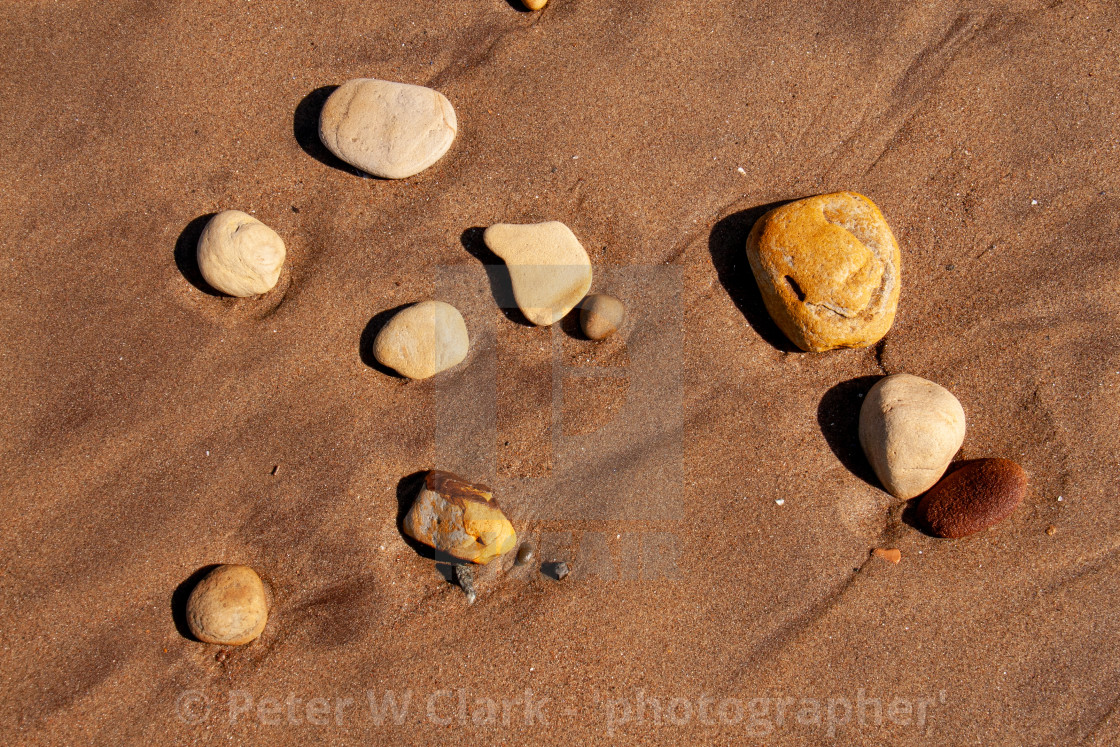 """Whitby, UK, Yorkshire East Coast, Pebbles on the Beach"" stock image"