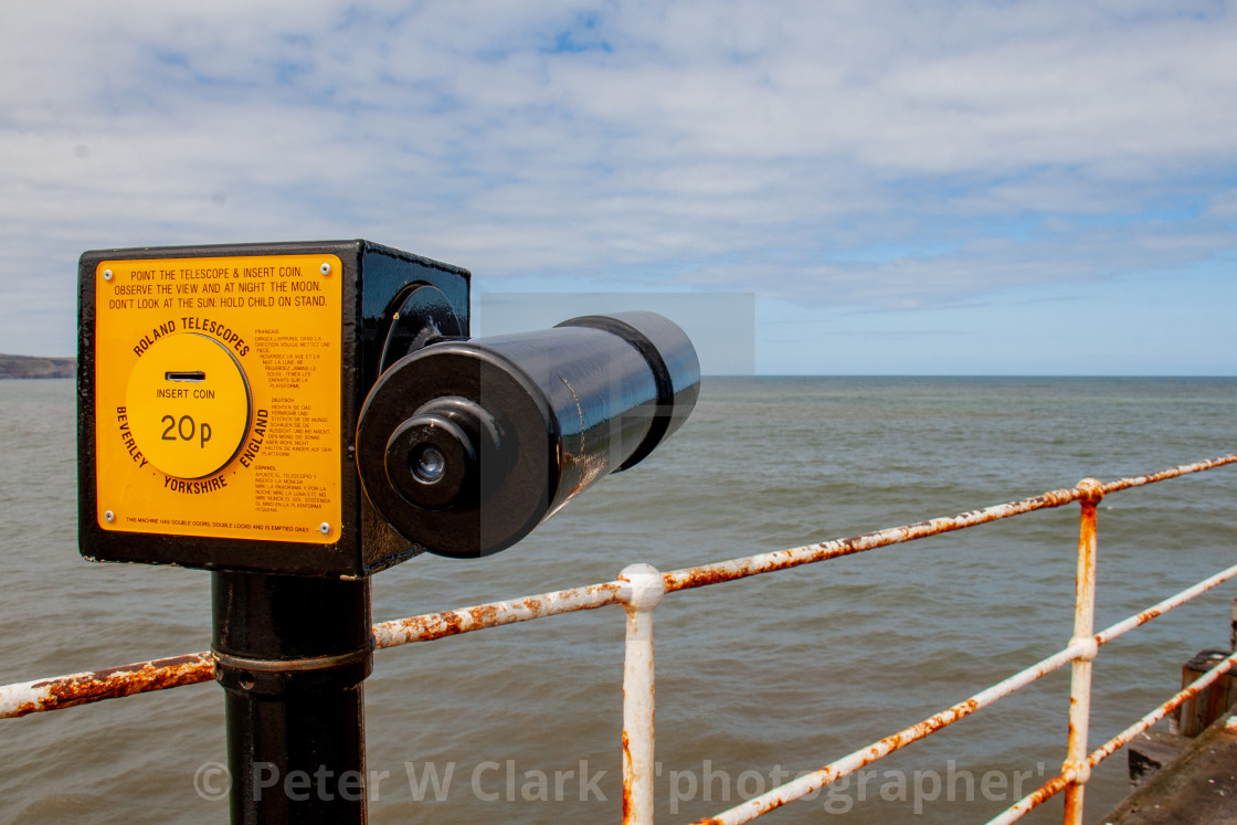 """Whitby,UK,Yorkshire,East coast, Roland Pay to View Telescope at the Harbour."" stock image"
