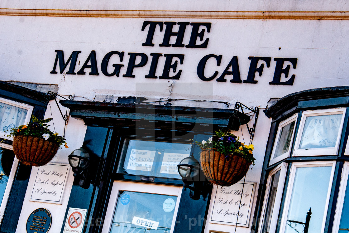 """Whitby,UK,Yorkshire,East coast, The Magpie Cafe."" stock image"