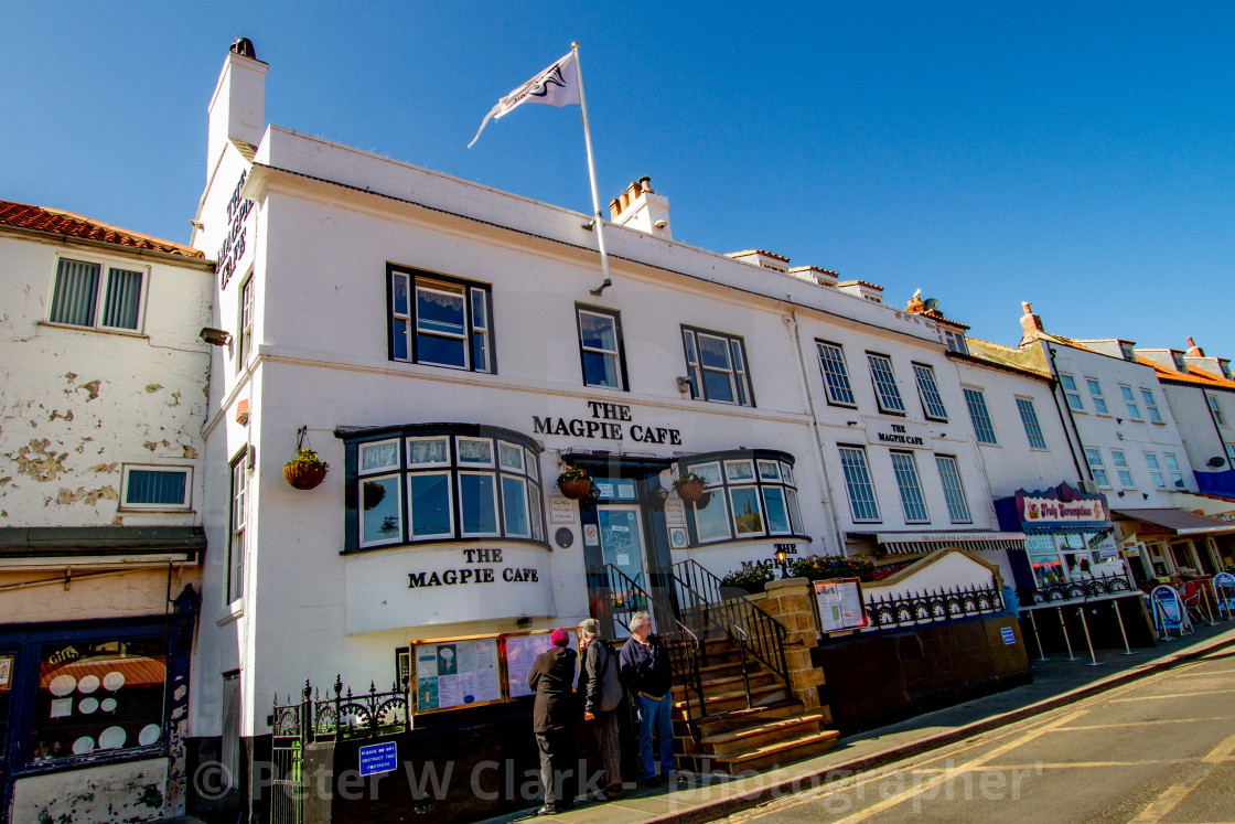 """Whitby,UK,Yorkshire,East coast, The Magpie Cafe. Photograph taken April 2013."" stock image"