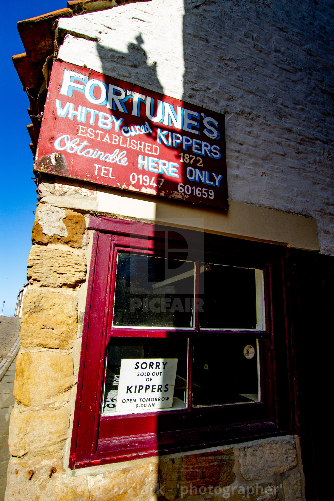 """Whitby,UK,Yorkshire,East coast, Fortunes Whitby Kippers Shop."" stock image"
