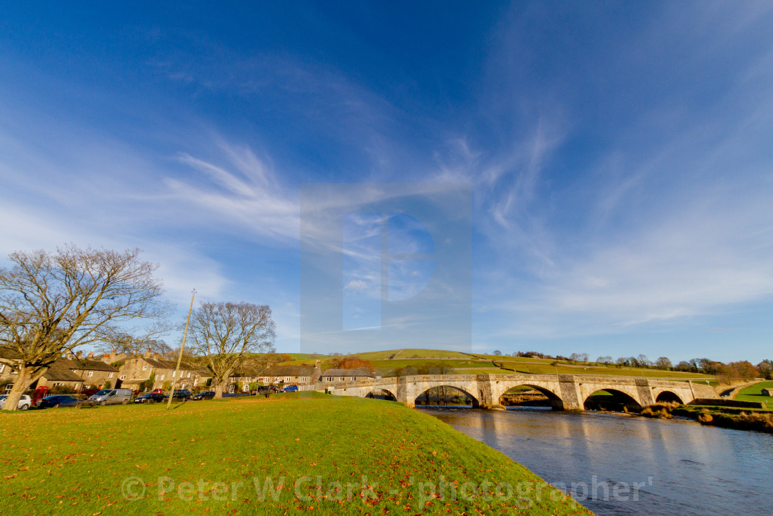 """""""Burnsall, Yorkshire Dales Village, England, Arched Stone Bridge over the River Wharfe"""" stock image"""