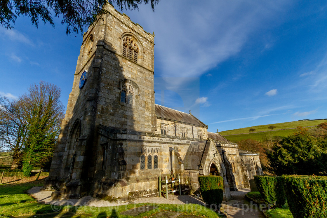 """Burnsall, Yorkshire Dales Village, England, St Wilfrids Parish Church."" stock image"