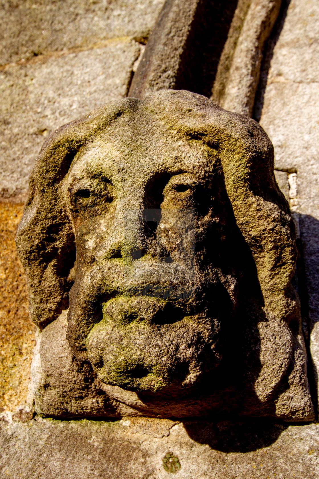"""Burnsall, Yorkshire Dales Village, England, St Wilfrids Parish Church. Gargoyle to Church Entrance."" stock image"