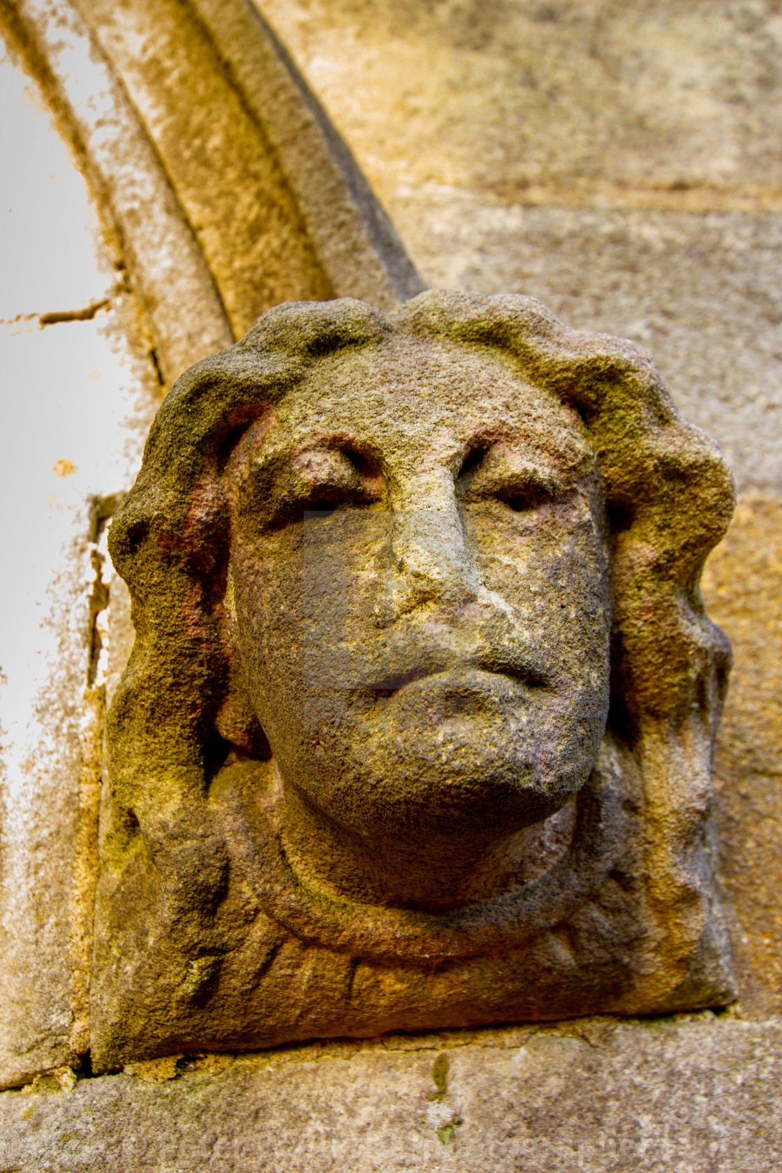 """Burnsall, Yorkshire Dales Village, England, St Wilfrids Parish Church. Gargoyle to Church Entrance."" stock image"