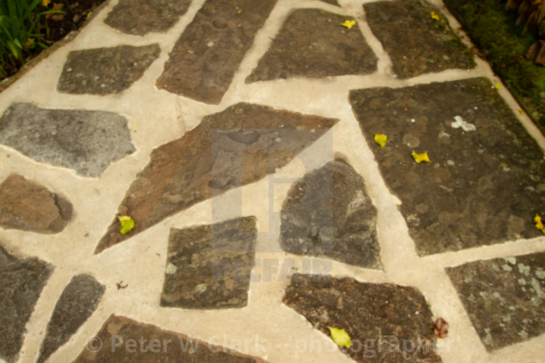 """""""Stone Crazy Paving in Kettlewell, Wharfedale,"""" stock image"""
