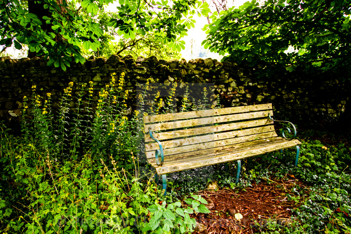 """""""Bench Seat in Churchyard, St Mary's Church, Kettlewell,Yorkshire Dales."""" stock image"""