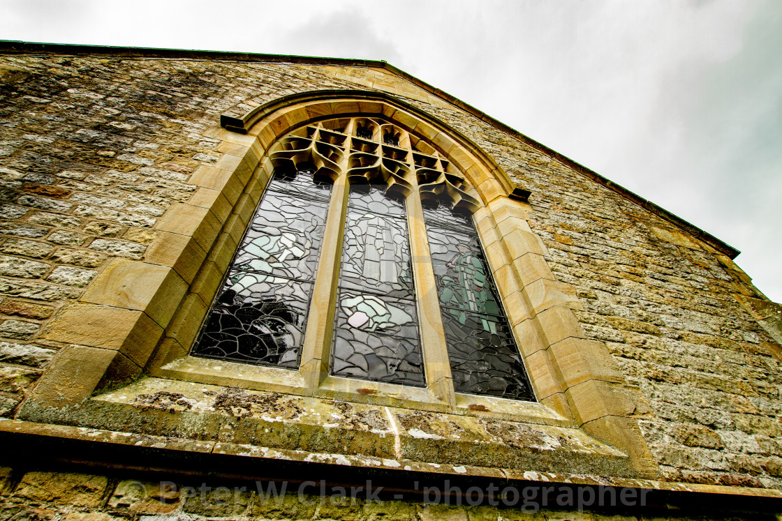"""""""St Mary's church, The East Window. Stained Glass Kettlewell,Yorkshire Dales."""" stock image"""
