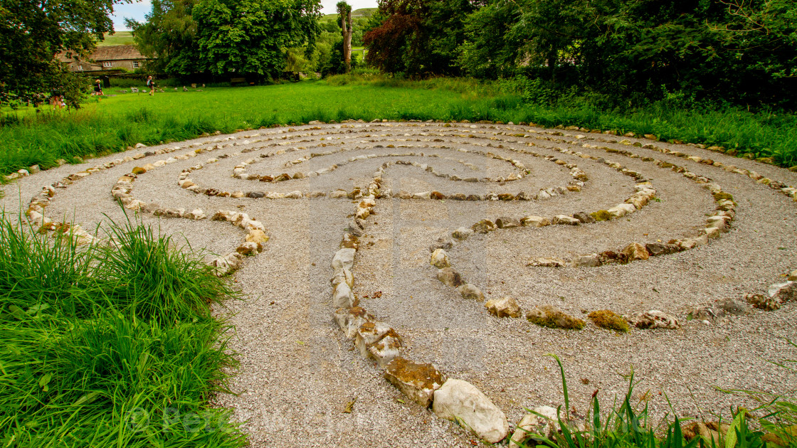 """""""Meadow Labyrinth, St Mary's Church, Kettlewell. Yorkshire Dales."""" stock image"""