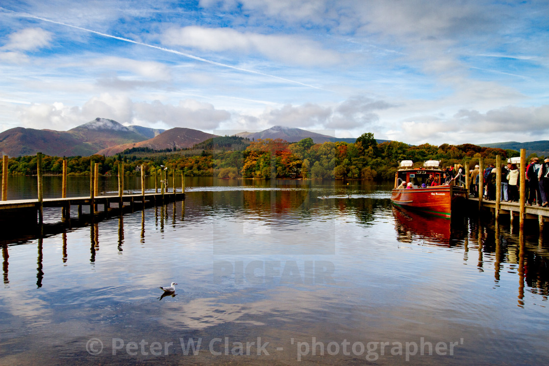 """'Derwentwater Jetties' The Lake District, Cumbria, England."" stock image"