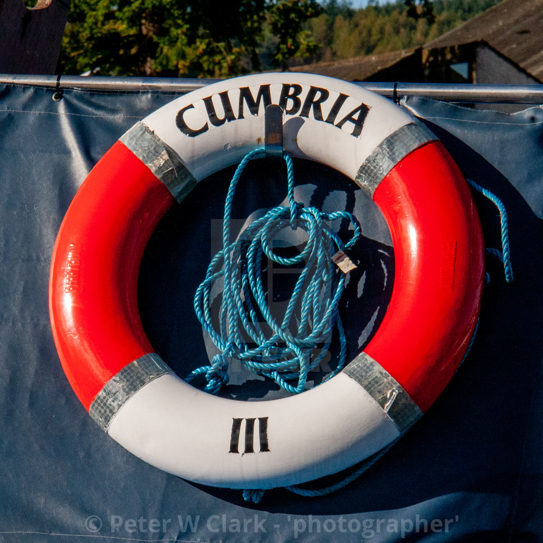 """Lifebuoy Ring attached to Windermere Launch 'Miss Cumbria 111'"" stock image"