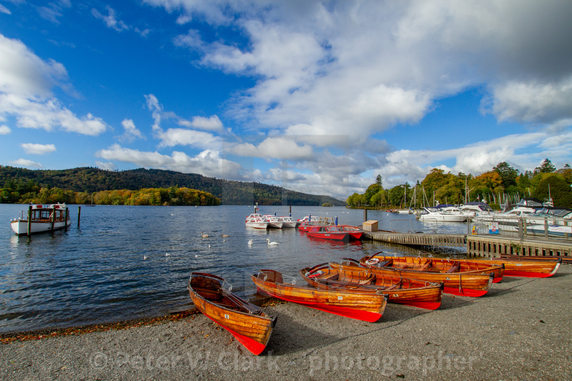 """Clinker Built Rowing Boats for Hire on Foreshore, Ambleside, Lake Windermere, Cumbria,"" stock image"