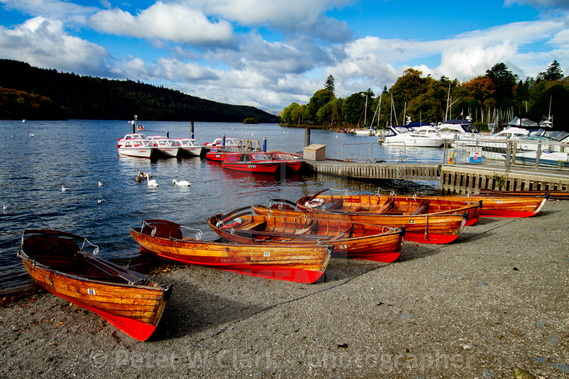 """Clinker Built Rowing Boats for Hire on Foreshore, The Lake District, Ambleside, Lake Windermere, Cumbria"" stock image"