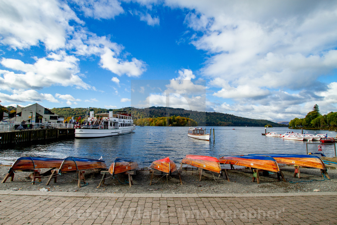 """Clinker Built Rowing Boats for Hire on Foreshore, The Lake District, Ambleside, Lake Windermere, Cumbria,"" stock image"