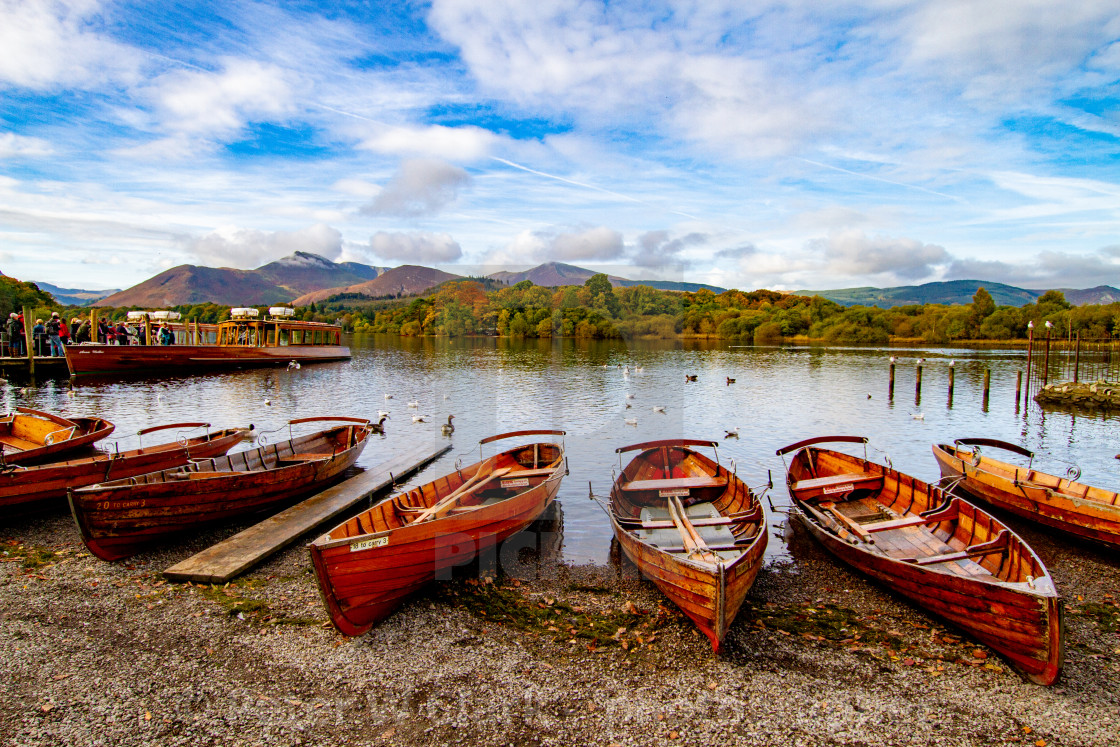 """Clinker Built Rowing Boats for Hire on Foreshore, Derwentwater, Keswick Landings."" stock image"