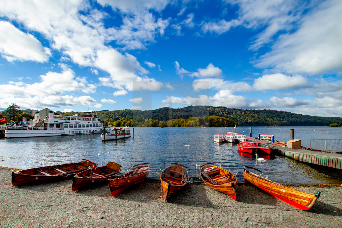 """Clinker Built Rowing Boats for Hire on Foreshore, Ambleside, Lake Windermere."" stock image"