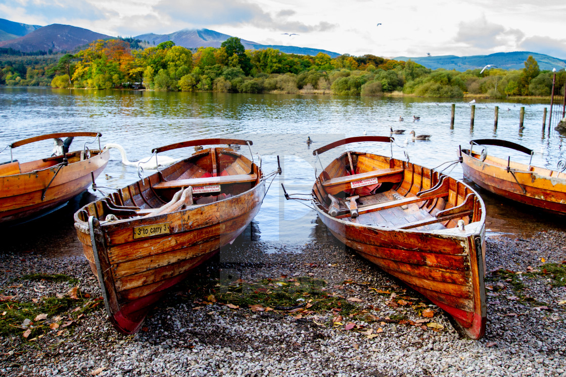 """Clinker Built Rowing Boats for Hire on Foreshore, Derwentwater, Keswick, Landings."" stock image"