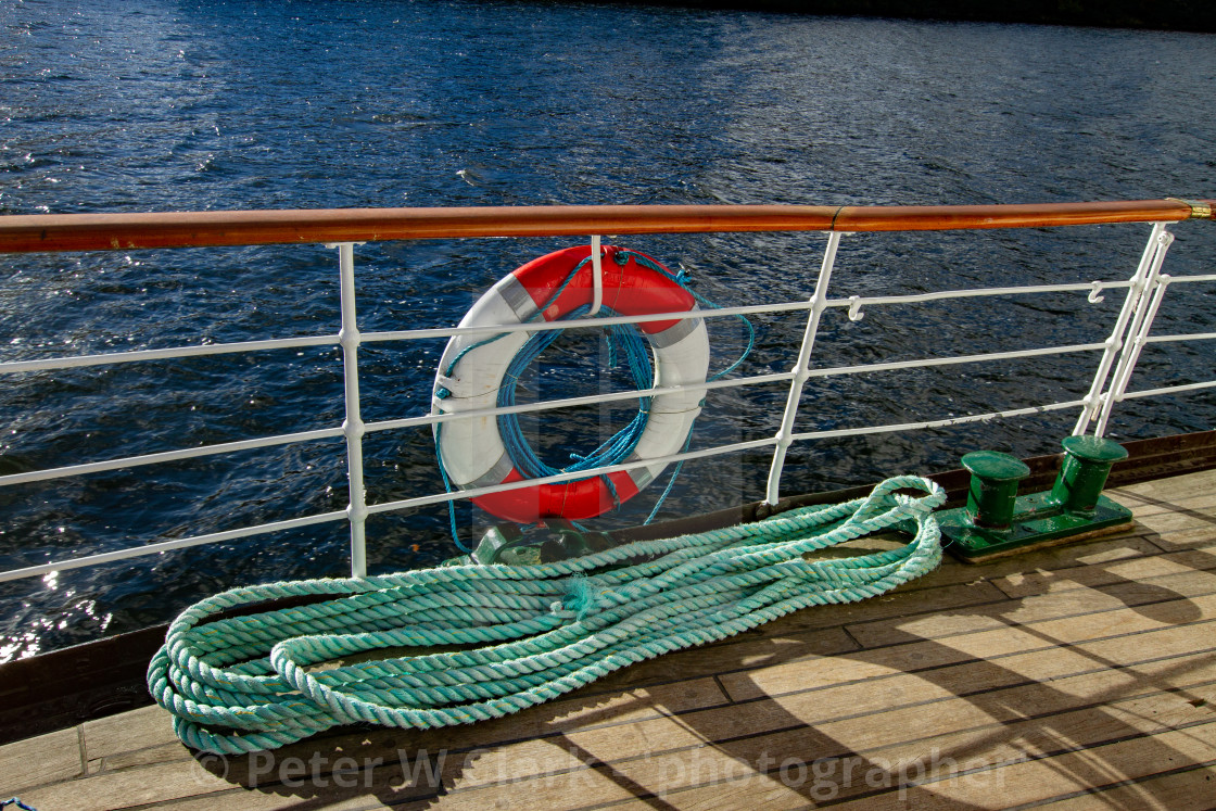 """Lifebuoy and Rope on MS Teal, Windermere."" stock image"