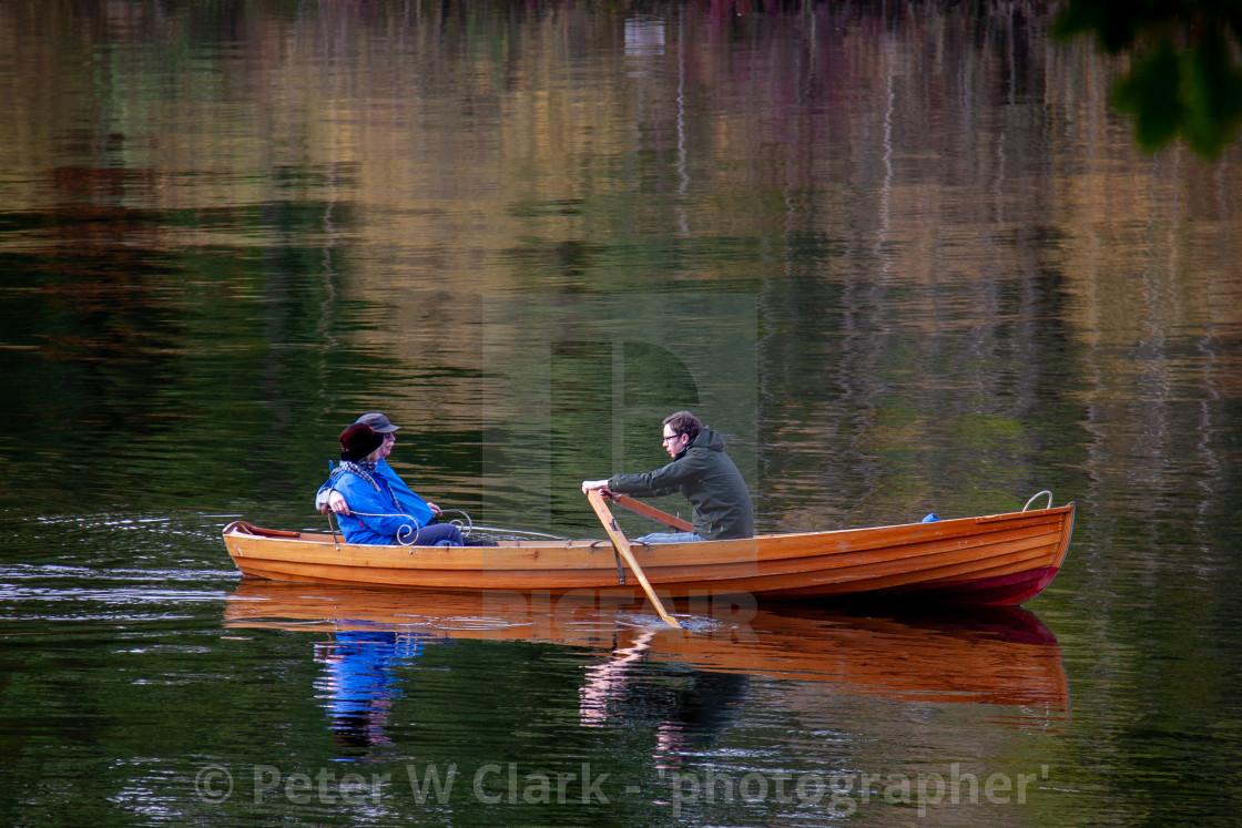 """Rowing Boat on Lake Derwentwater."" stock image"