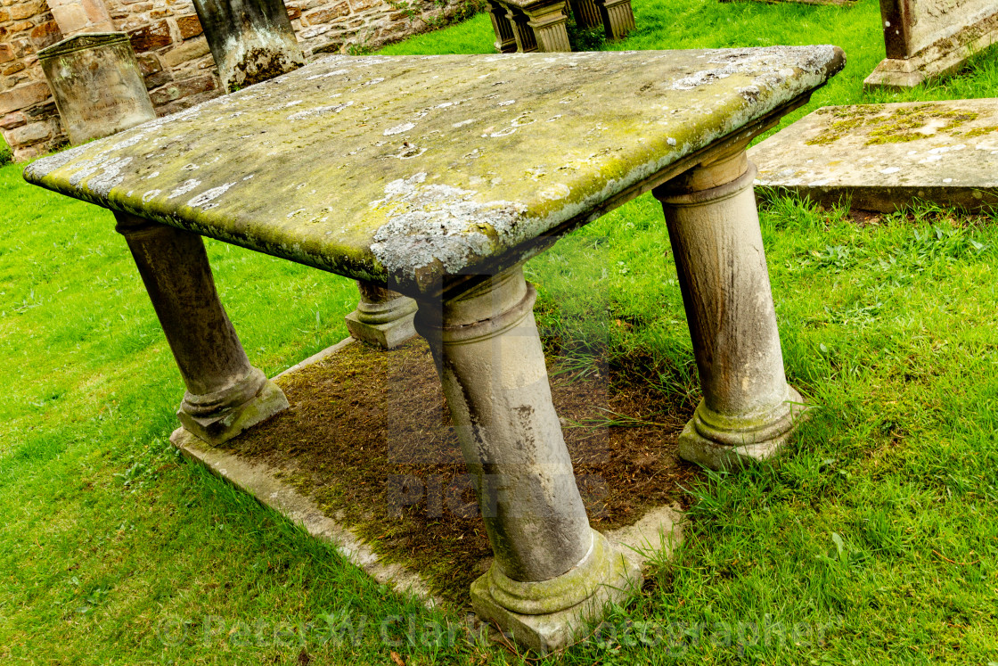 """Table Tomb, Parish Church of Saint Agatha, Easby, near Richmond, North Yorkshire."" stock image"